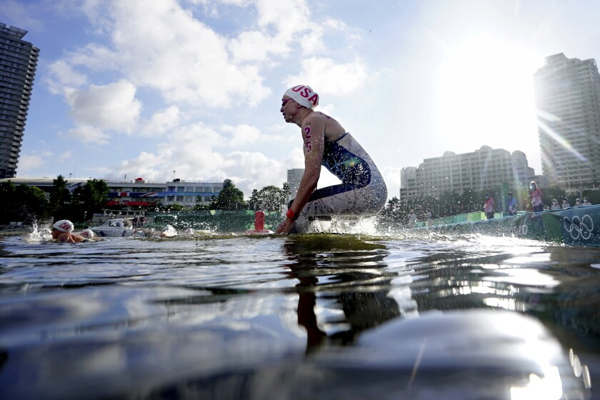 Haley Anderson, of the United States, jumps in the water at the start.