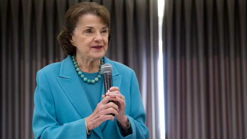 SAN DIEGO, CA - FEBRUARY 24: U.S. Senator Dianne Feinstein speaks to the Environmental Caucus at the