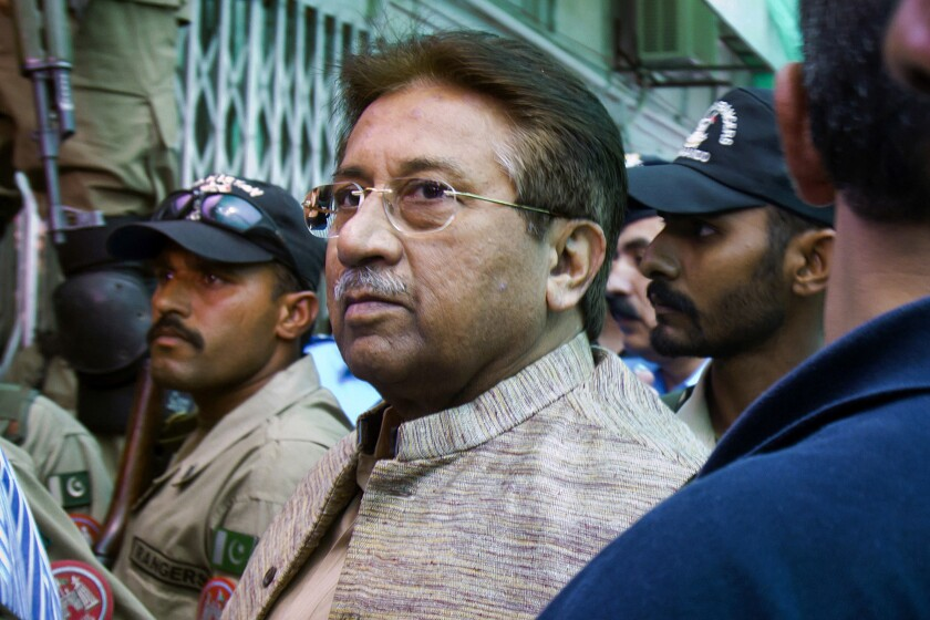 Pakistani Gen. Pervez Musharraf, pictured in 2013, has been living in the United Arab Emirates and is unlikely to travel home to face the sentence.