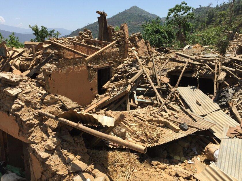 The damaged village of Chautara.