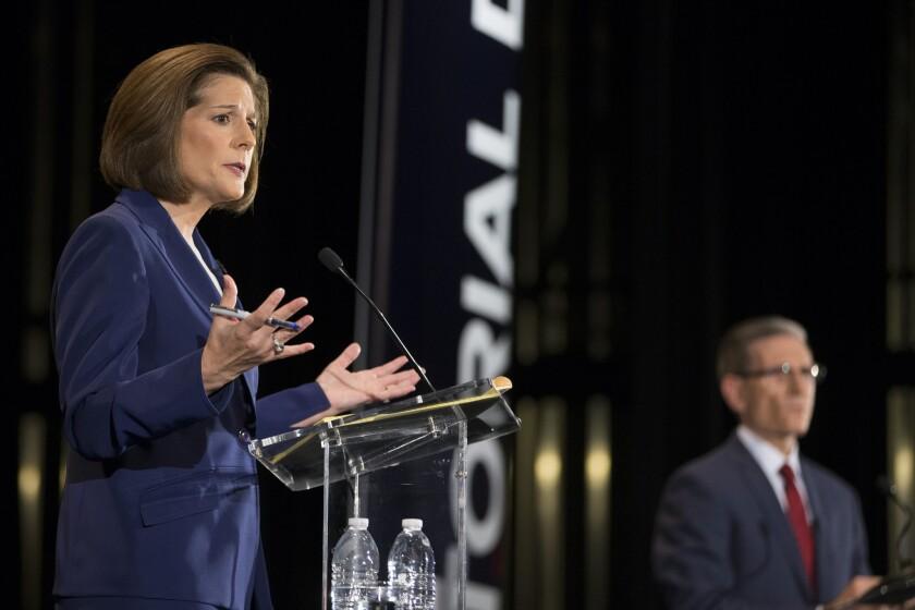 Senate candidates Catherine Cortez Masto and Joe Heck debate in Las Vegas.