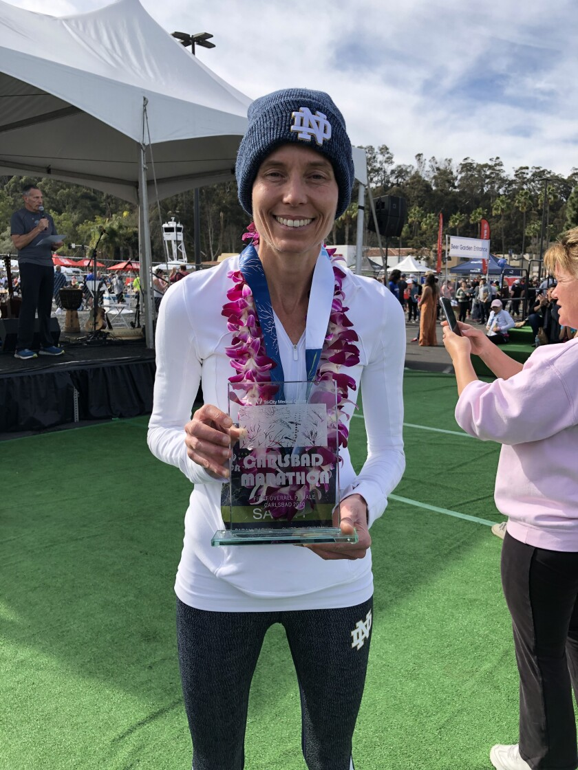 Sarah Raskin was the female winner of the Carlsbad Marathon.