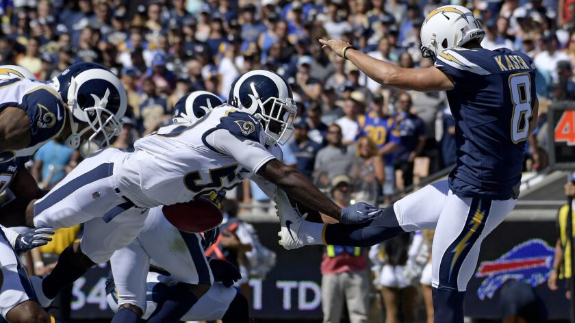 Los Angeles Rams linebacker Cory Littleton blocks a punt by Los Angeles Chargers punter Drew Kaser i