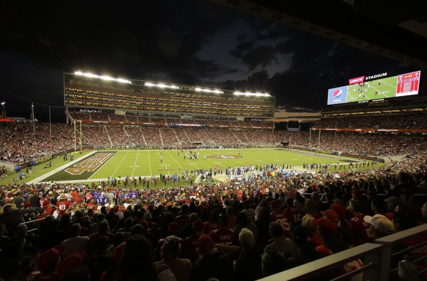 Fans at Levi's Stadium watch the San Francisco 49ers play the Minnesota Vikings on Sept. 14.