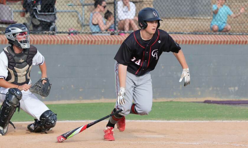 Cole Colleran, of Canyon Crest Academy, heads to first after connecting with a pitch.