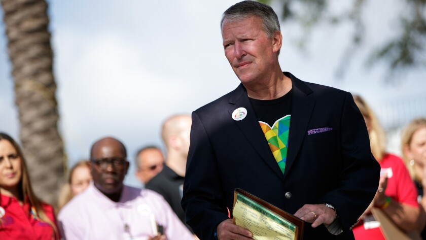 Orlando Mayor Buddy Dyer listens to a question at a news conference days after the Pulse nightclub shooting.