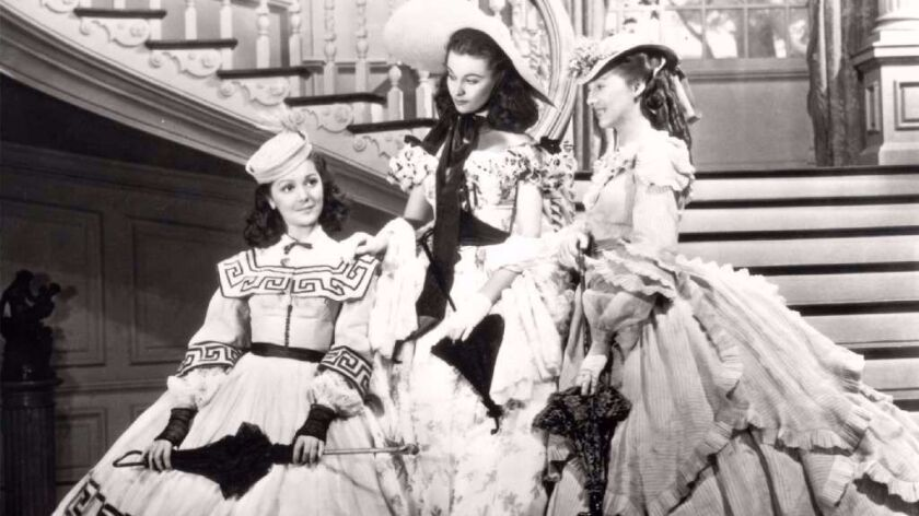 "This undated image from the film ""Gone with the Wind"" provided by New Line Cinema shows, from left:"