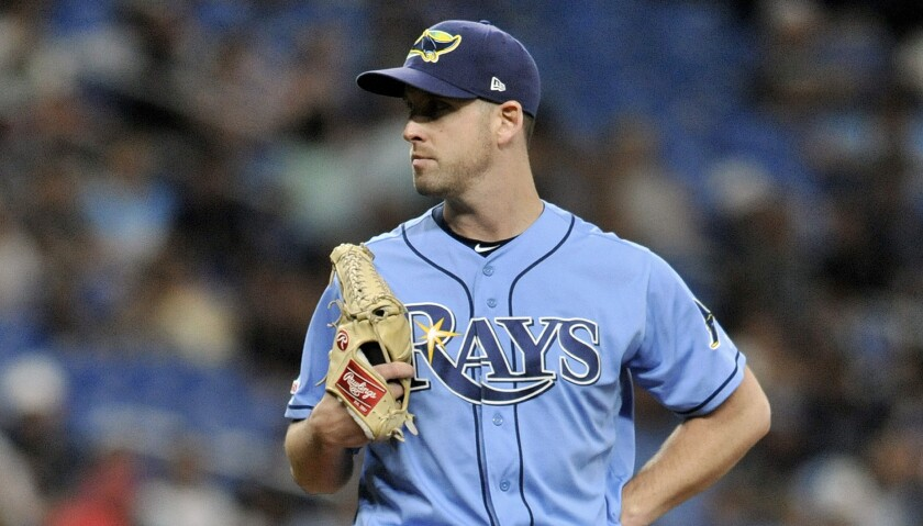 Tampa Bay Rays reliever Adam Kolarek pitches during a baseball game against the Chicago White Sox on July 21.