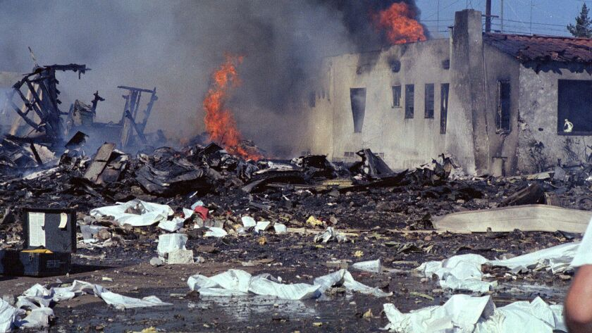 The still-burning devastation of the crash of PSA Flight 182 on Sept. 25, 1978 on Dwight Street in North Park.