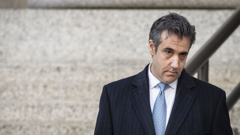 Michael Cohen, President Trump's former personal lawyer, leaves federal court in New York on Thursday after a surprise appearance.
