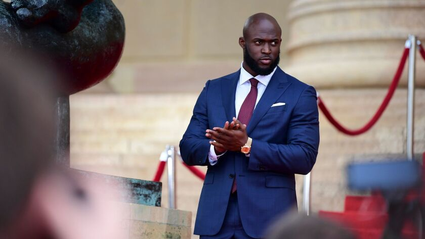 Leonard Fournette of Louisiana State University before the NFL Draft in front of the Philadelphia Mu