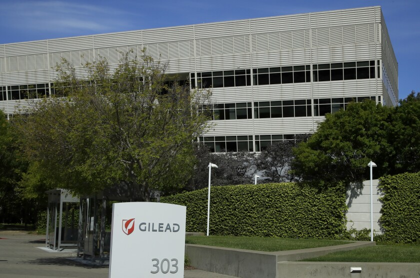 FILE - This April 30, 2020, file photo shows Gilead Sciences headquarters in Foster City, Calif. Shares of Immunomedics more than doubled before the market open on Monday, Sept. 14 after Gilead Sciences said it'll buy the biotechnology company for $21 billion. (AP Photo/Ben Margot, File)