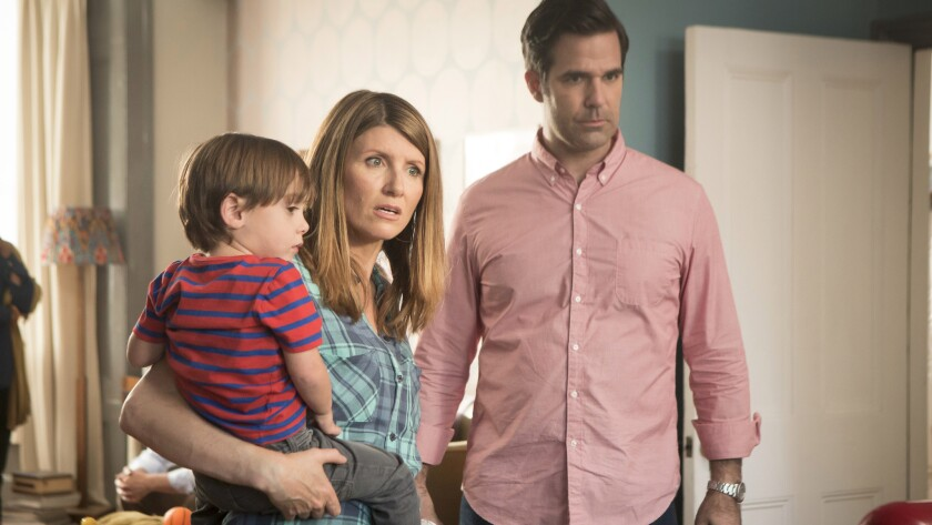 """Sharon Horgan, left, and Rob Delaney both star and are writers of the romantic comedy series """"Catastrophe"""" on Amazon."""