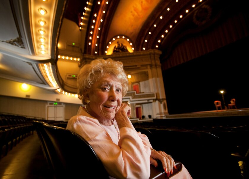 Jacquelyn Littlefield in 2012, marking the 100th anniversary of the Spreckels Theatre.