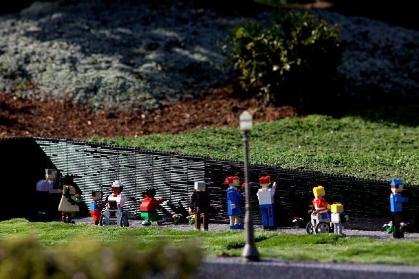 Veterans' Day is Nov. 11 and Legoland California is honoring the occasion by installing the Vietnam Veterans Memorial built entirely out of Lego bricks in Miniland Washington, D.C. It took six people about 60 hours to build the mini Vietnam Veterans Memorial. The display is 10-feet-long and made of more than 2,000 Lego bricks.