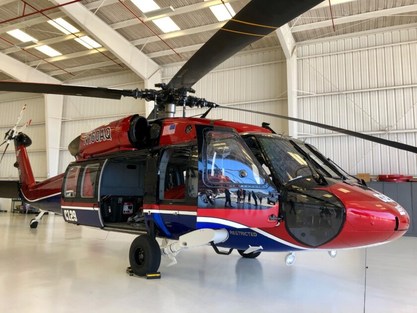 The UH-60 Black Hawk helicopter has been contracted year-round by San Diego Gas & Electric for rapid response dispatch by Cal Fire. The chopper can fly up to 140 mph with an 850-gallon tank of water and refill in 45 seconds.