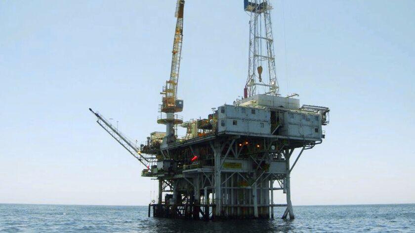 An oil-drilling rig in the Santa Barbara Channel off Goleta, Calif.