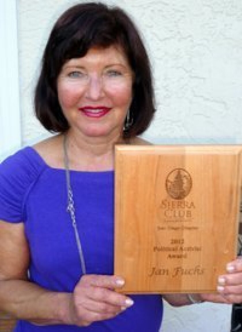 Carmel Valley's Jan Fuchs recently received the Sierra Club of San Diego's Political Activist Award.