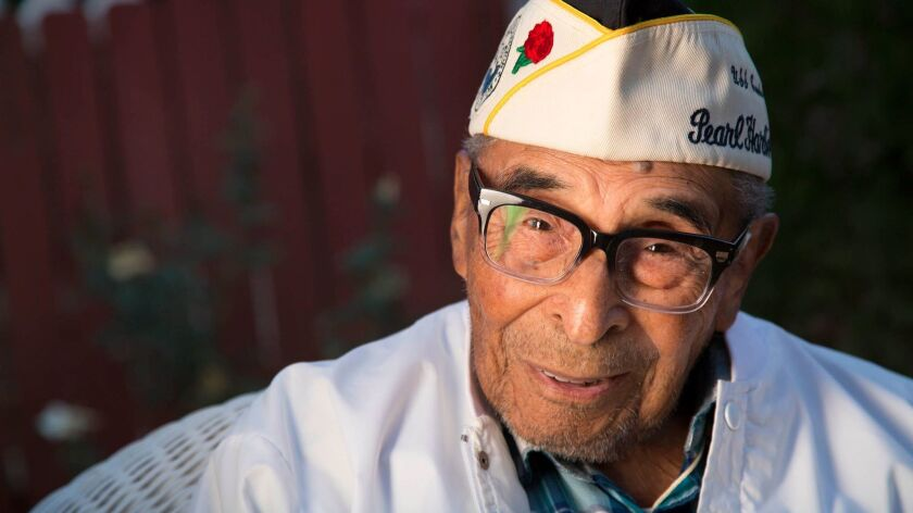 At 104, Ray Chavez of Poway is believed to be the oldest Pearl Harbor survivor in the U.S. He was the quartermaster on the Condor minesweeper.