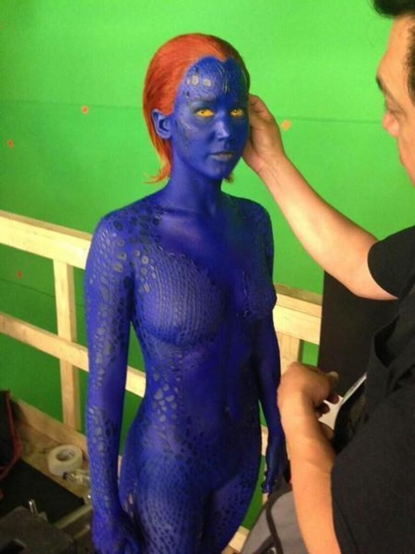 """""""X-Men: Days of Future Past"""" posted this behind the scenes photo of actress Jennifer Lawrence in costume as Mystique."""