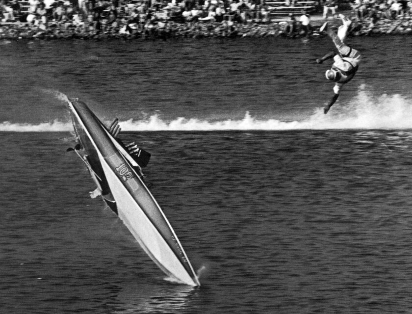 Aug. 15, 1971: Pilot Sonny DiMarco of Sun Valley is thrown into the air as his boat flips wildly in a finish-line crash at the National Drag Boat Assn. Races at Long Beach Marine Stadium. This photo appeared in the Aug. 16, 1971, Los Angeles Times.