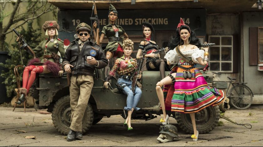 The dolls of Marwen (from left): Anna (Gwendoline Christie), Cap'n Hogie (Steve Carell), GI Julie (J