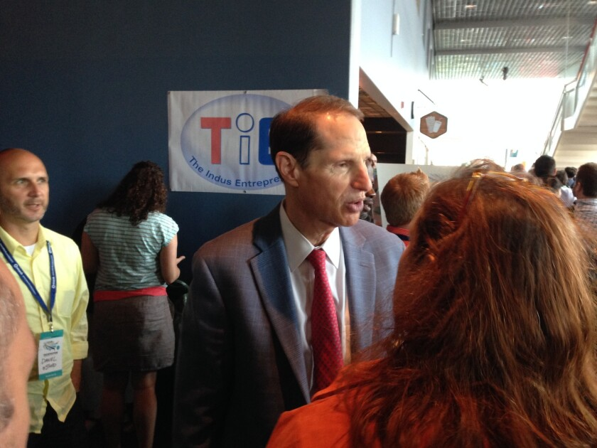 Sen. Ron Wyden (D-Ore.), who sits on the U.S. Senate Select Committee on Intelligence, called the meeting of tech leaders to discuss how U.S. mass surveillance programs have challenged tech innovation and global competitiveness. Above, Wyden attends an event in Portland in August.