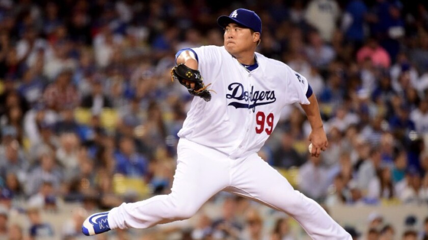 Dodgers left-hander Hyun-Jin Ryu pitches against the Padres during a game on July 7.