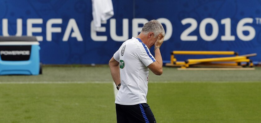 France coach Didier Deschamps attends a training session at the stadium in Clairefontaine, France, Monday, July 4, 2016. France faces Germany in a Euro 2016 Soccer Championship semifinal soccer  match on Thursday, July 7, 2016 in Marseille. (AP Photo/Frank Augstein)
