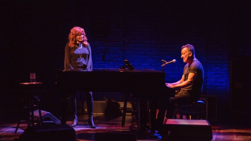 "Bruce Springsteen is joined by wife and longtime collaborator Patti Scialfa in ""Springsteen on Broadway."""