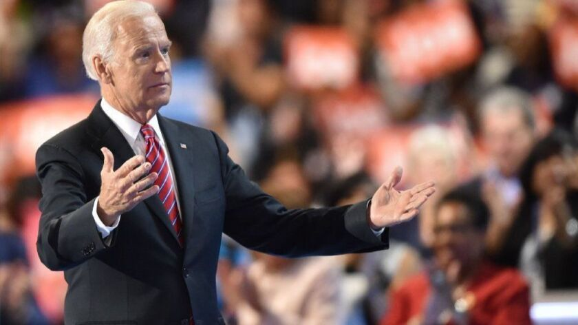 Joe Biden, shown in 2016, responded Sunday to allegations by Lucy Flores, former Nevada state representative, of unwanted touching.