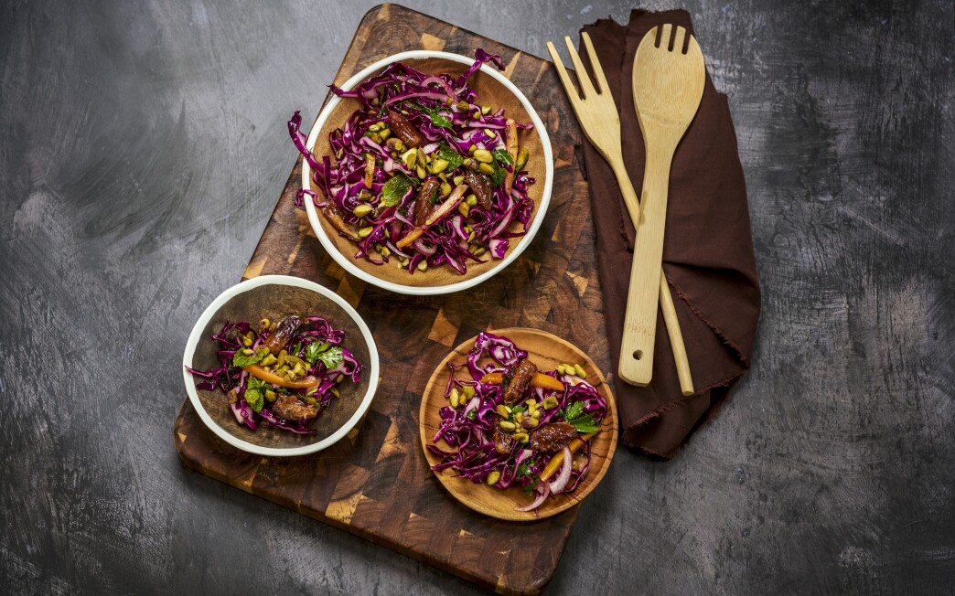 Chewy Deglet Noor dates add sweetness to this crunchy slaw brightened with preserved lemon.