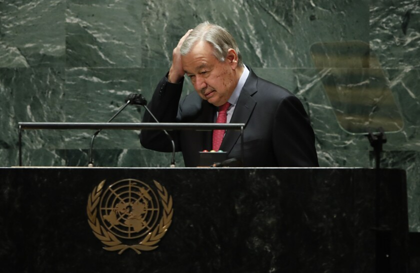 United Nations Secretary General Antonio Guterres addresses the 76th Session of the U.N. General Assembly, Tuesday, Sept. 21, 2021, at United Nations headquarters in New York. ( Eduardo Munoz/Pool Photo via AP)/Pool Photo via AP)