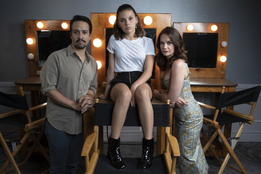"From left, ""His Dark Materials"" stars Lin-Manuel Miranda, Dafne Keen and Ruth Wilson at the Beverly Hilton."