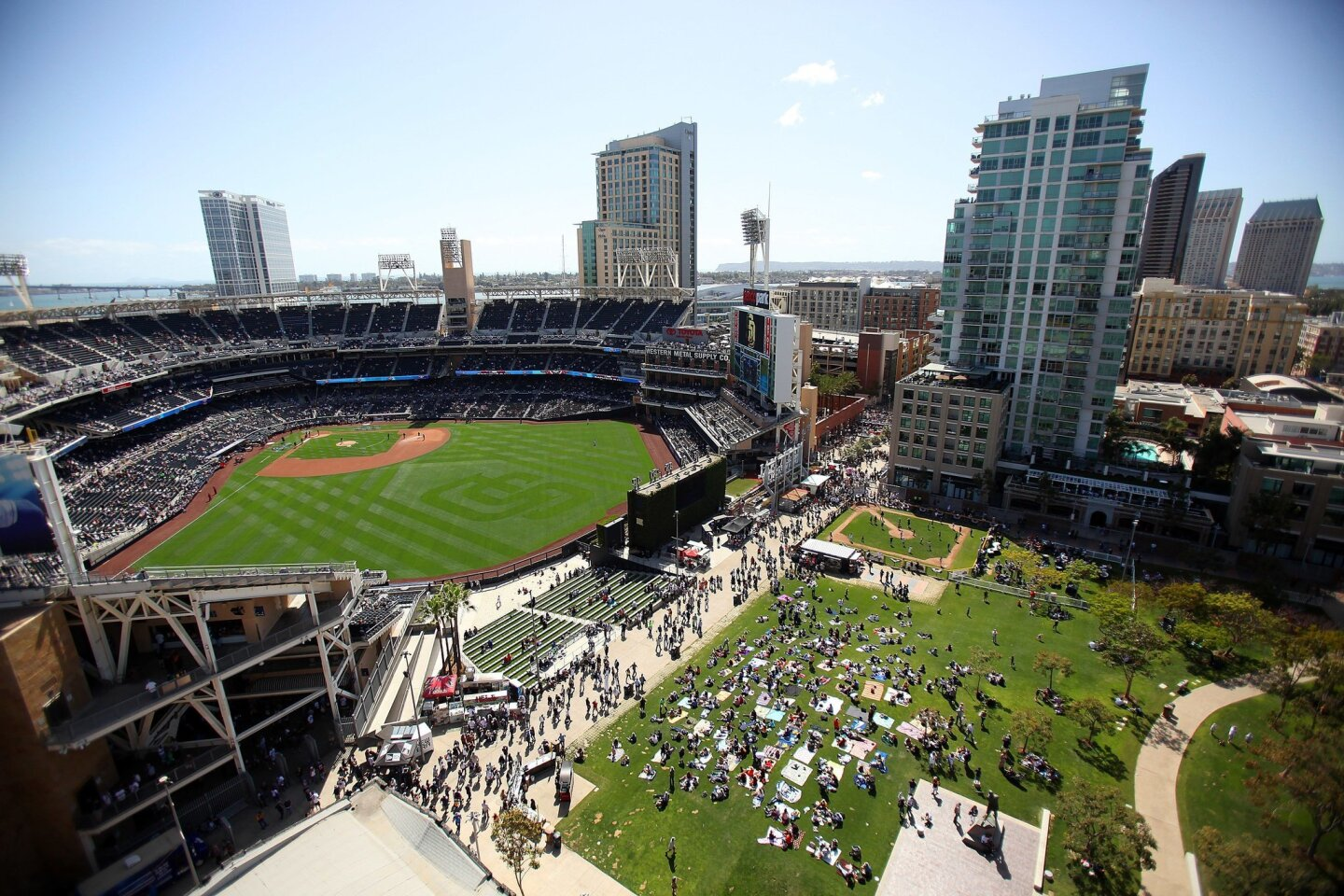San Diego, CA_4/9/15_ The Padres open up a series against the San Francisco Giants Thursday afternoon for their Major League Opening Day.|This aerial view of Petco Park and the Park at the Park was taken from a nearby office building.| Photo by John Gastaldo/U-T San Diego/Zuma Pres