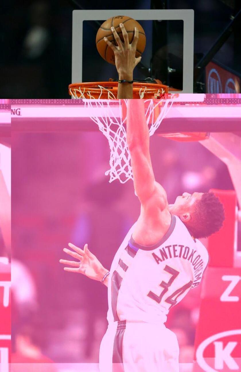 El jugador Giannis Antetokounmpo de Milwaukee Bucks en acción. EFE/Archivo