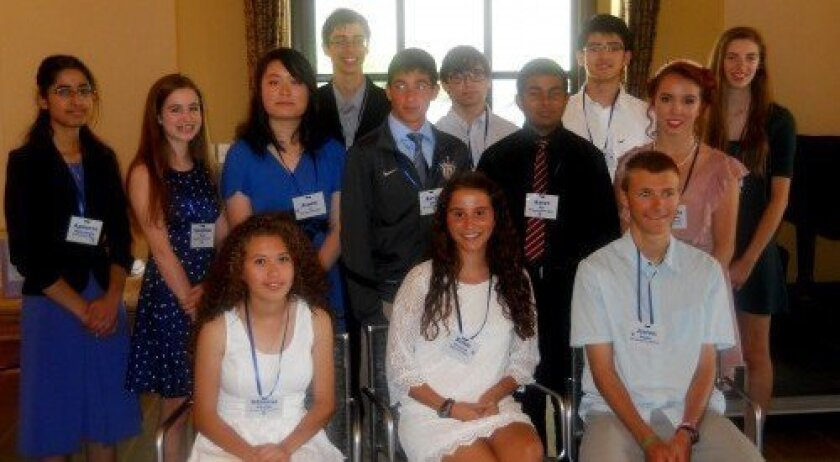 Santa Fe Christian Schools junior Caroline Peck (second from left, second row) receives the Yale Club of San Diego Book Award.