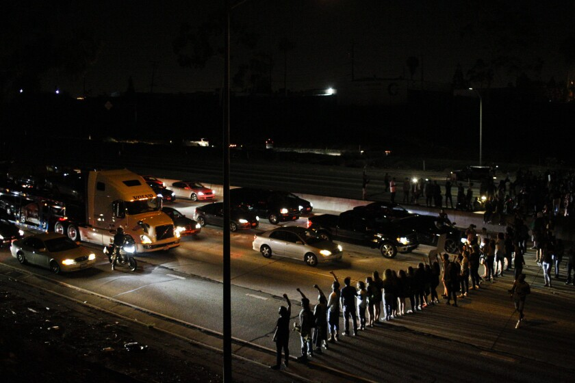 Black Lives Matter protesters block the 405 Freeway in Inglewood on July 10.