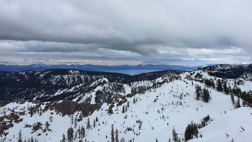 Lake Tahoe can be seen from the top of the tram at the Squaw Valley ski resort in March.