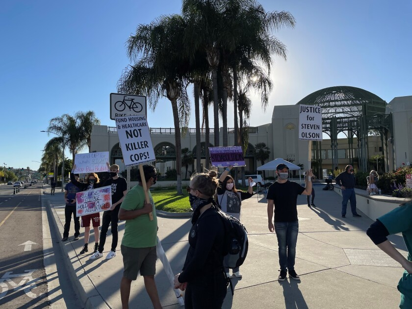 Protesters gathered Wednesday in Escondido to demand release of body-worn camera footage from fatal April 21 police shooting