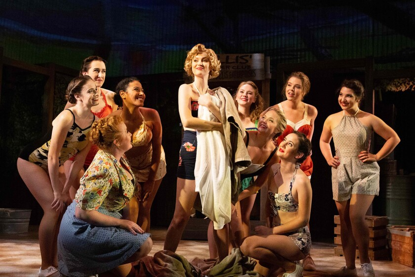 """Madison Claire Parks, center, and the cast of the classic musical """"South Pacific,"""" now playing at the Rubicon Theatre in Ventura."""