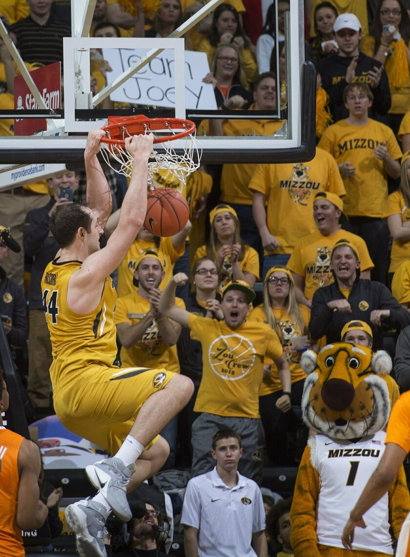 Missouri's Ryan Rosburg dunks the ball during last minute of the second half of an NCAA college basketball game against Tennessee, Saturday, Feb. 13, 2016, in Columbia, Mo. Missouri won the game 75-64. Rosburg led all scorers with 21 points. (AP Photo/L.G. Patterson)