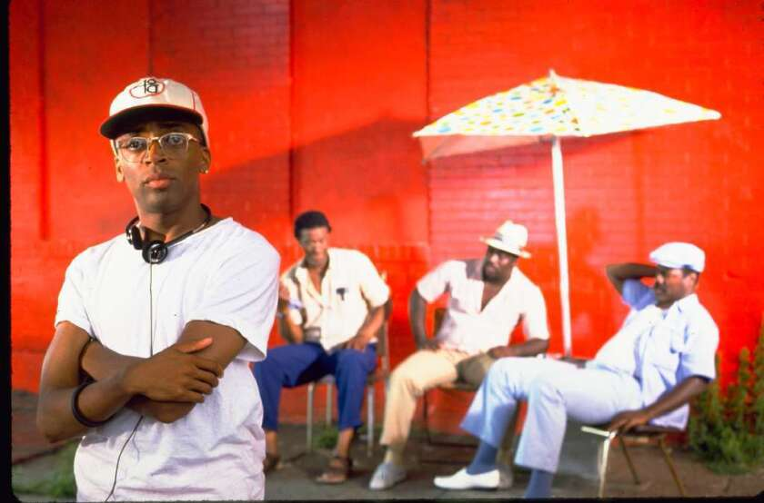 """Filmmaker Spike Lee, foreground, on the set of his 1989 movie, """"Do the Right Thing."""""""