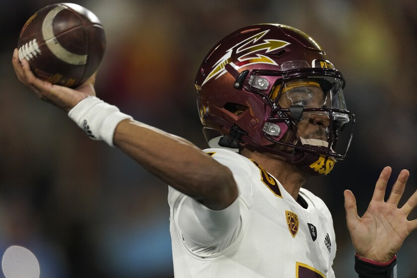 Arizona State quarterback Jayden Daniels passes during the second half of an NCAA college football game Saturday, Oct. 2, 2021, in Pasadena, Calif. Arizona State won 42-23. (AP Photo/Mark J. Terrill)