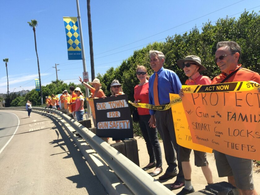 San Diego County Supervisor Dave Roberts (in blue shirt) was among about 20 people demonstrating outside of the Crossroads of the West gun show at the Del Mar Fairgrounds on Saturday.