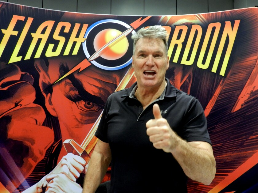 """Sam J. Jones, who played the title character in the 1980 cult movie """"Flash Gordon,"""" at NostalgiaCon 2019."""