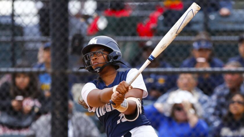 San Marcos first baseman Cydney Sanders hits a home run in the second inning against Bonita Vista.