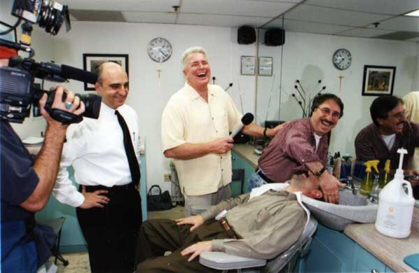 """Huell Howser and crew filming a segment for """"California's Gold."""""""