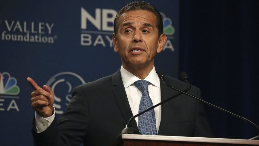 Democratic gubernatorial candidate Antonio Villaraigosa speaks during a debate at the California The