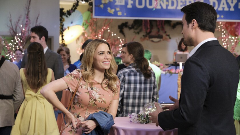 "Bethany Joy Lenz and Brett Dalton in the new TV movie ""Just My Type"" on Hallmark."